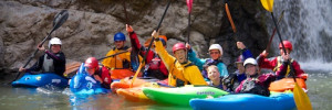 Kayak School paddling through Mule Creek Canyon on the Rogue River