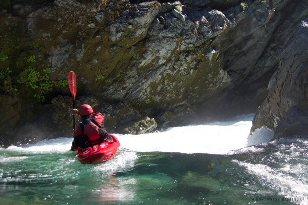 Paddling into the last drop of the South Fork gorge