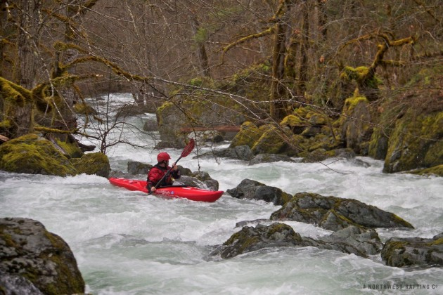 J.R. padding in the heart of the beautiful Taylor Creek Gorge