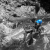 Kim Becker running Thrasher on Canyon Creek, WA with her AT2 Flexi