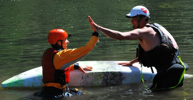 Learning the Wet Exit with Sundance Kayak School on the Rogue River in Oregon