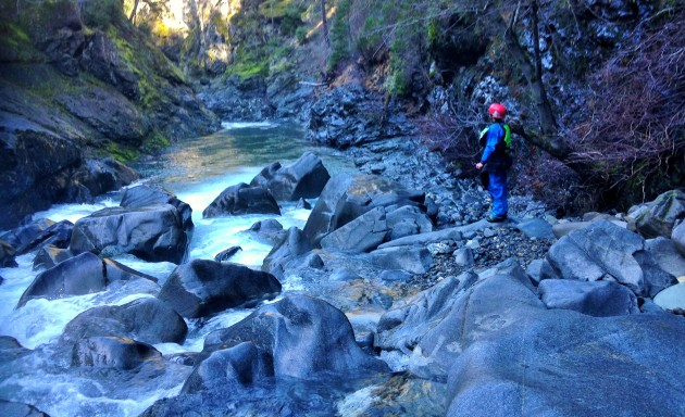 We portaged the Class V rapid on the Upper Chetco River.   Photo: Jo Kemper
