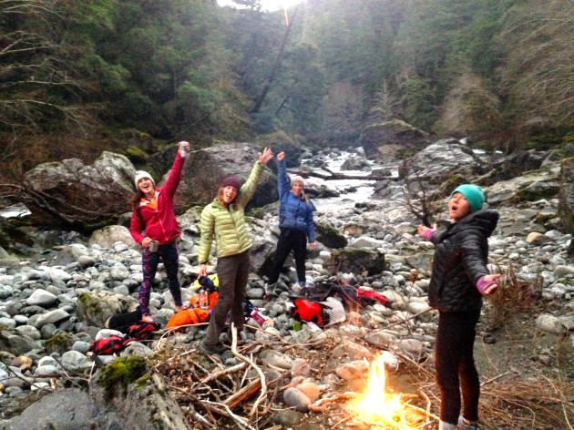 celebrating finding a camp on the Wild and Scenic Chetco River